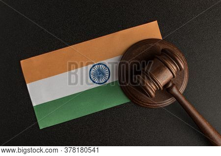 Judge Gavel And Flag Of India . Violation Of Human Rights. Protection Of Rights Population.