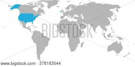Ireland, Usa Countries Isolated On World Map. Light Gray Background. Economic And Trade Relations.