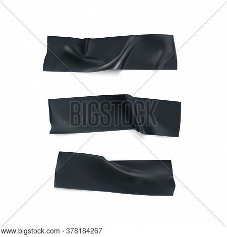 Realistic Black Insulating Tape Strip Set. Duct Tape Pieces Collection. Sticky Scotch Isolated On Wh