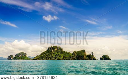 Scenic view of islands and Krabi coastline in the Andaman Sea in Thailand
