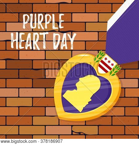 Vector Template Card Purple Heart Day On Brick Background. Badge And Purple Ribbon In Flat Style. Ce