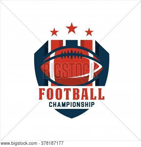 American Football Logo Design. Rugby Emblem Championship Template, Club, Tournament, Isolated On Whi