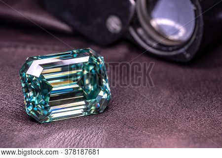 Blue Emerald Diamond And The Jewelry Loupe