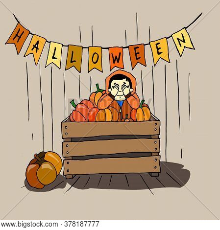 Boy In A Box With Pumpkins Hiding, Playing Hide-and-seek, Pretending To Be A Pumpkin Color Hand Draw