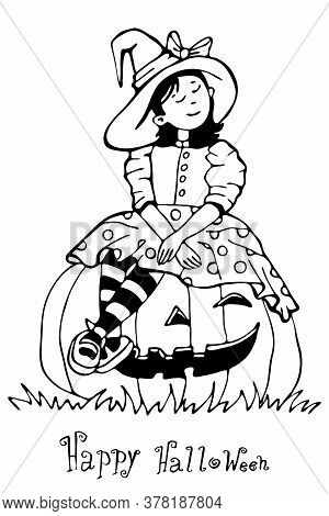 A Girl Dressed As A Witch For Halloween Is Sitting On A Pumpkin. Draw A Black And White Outline Isol