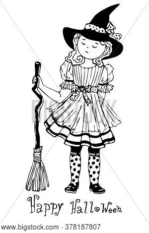 A Beautiful Proud Girl Dressed As A Witch For Halloween Stands With A Broom In Her Hands Angry, Blac