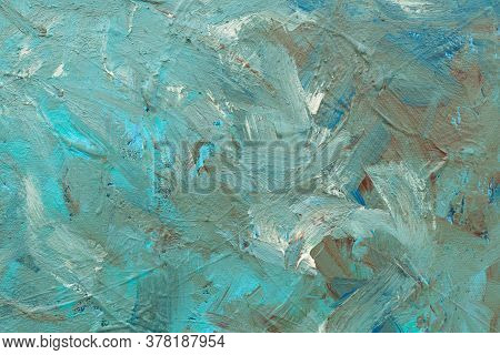 Turquoise Abstract Hand-painted Background Illustration With Impasto Painterly Brushstrokes