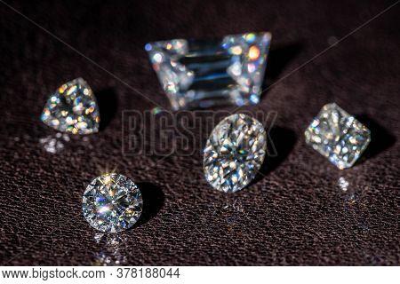 Luxury Diamonds Brilliance On Brown Leather Background