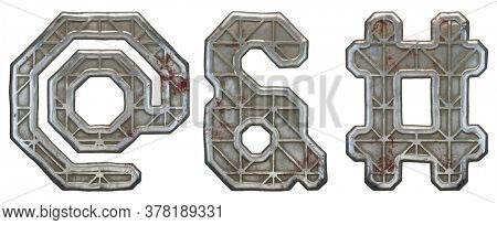 Set of symbols at, ampersand and hash made of industrial metal on white background 3d rendering