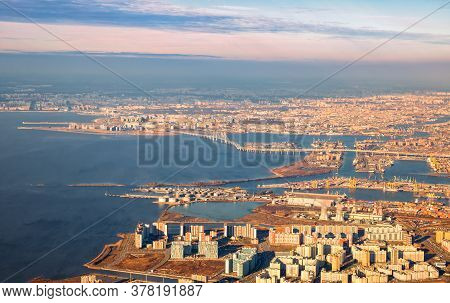 Aerial View Of St. Petersburg, Neva River Delta And Gulf Of Finland. Vasilievsky Island With Alluvia