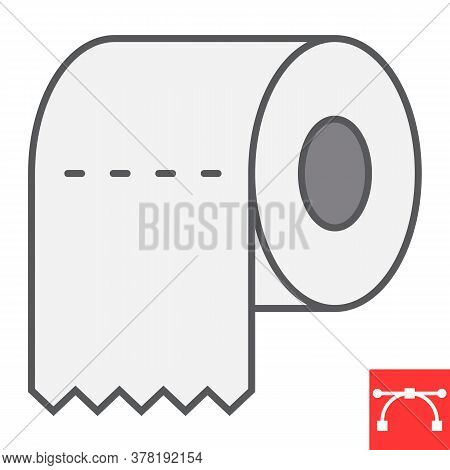 Toilet Paper Color Line Icon, Hygiene And Disinfection, Toilet Paper Sign Vector Graphics, Editable