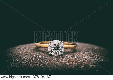 Engagement Diamond Ring. Gold Jewelry Ring With Luxury Gemstone