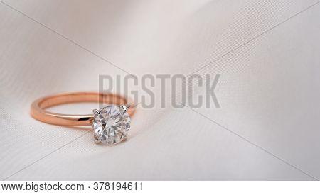 Engagement Diamond Ring. Precious Jewelry Ring With Luxury Gemstone