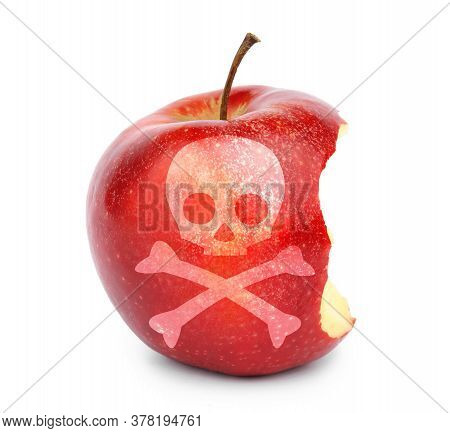 Bitten Poison Apple With Skull And Crossbones Image On White Background