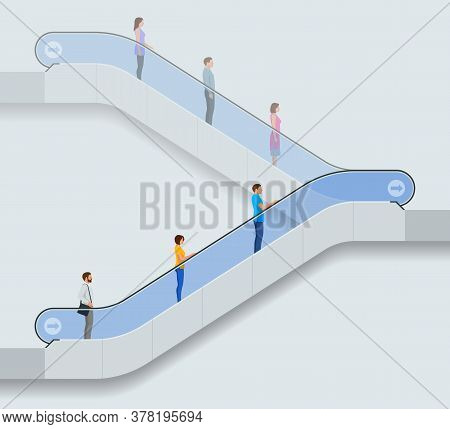 Keep Your Distance On The Escalator, Epidemic Covid-19. Social Distancing. Wearing A Surgical Protec