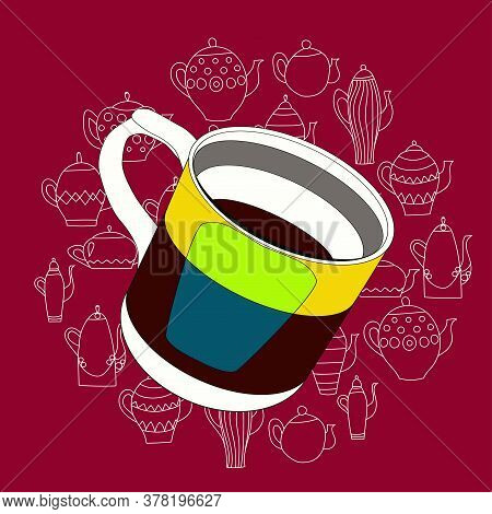 A Colored Cup With Tea Or Coffe On A Painted Backround