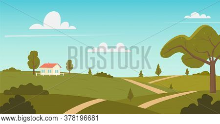 Rural Landscape With Sunny Summer Day In The Village. Beautiful Summer Fields Landscape With Green H