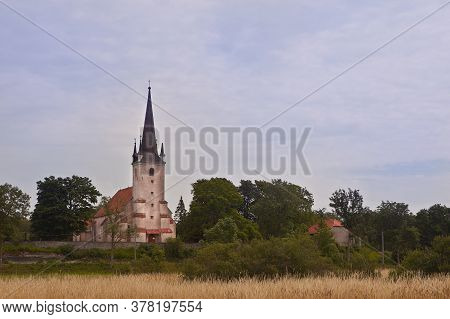 Harju-madise Church In Estonia, Located On A High Limestone Cliff. Building Stone Construction From