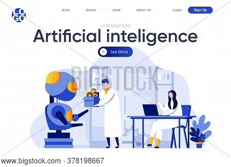 Artificial Intelligence Flat Landing Page. Scientists Working In Modern Technical Laboratory Vector