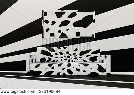 Minimalist Living Room With Sofa And Big Frame. Dalmatian Spots Apartment Design. 3d Illustration