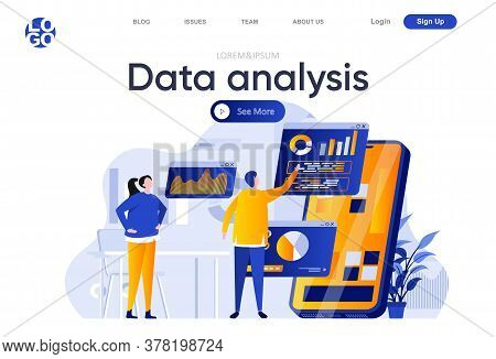 Data Analysis Flat Landing Page. People Using Mobile Application With Business Analytics On Screen V
