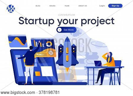 Startup Your Project Flat Landing Page. Team Of Startup Founders Launching New Project Vector Illust