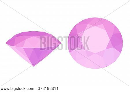 Pink Ruby Stone, Precious Diamond Isolated On White, 3d Render