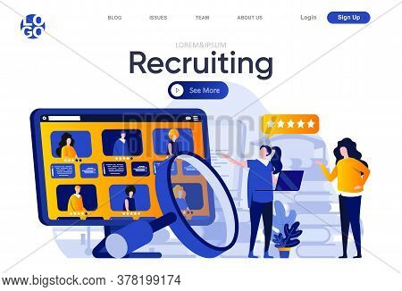 Recruiting Flat Landing Page. Hr Manager Carefully Studying Resumes Of Candidates Vector Illustratio