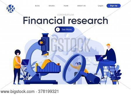 Financial Research Flat Landing Page. Team Of Business Analysts Carefully Studying Information With