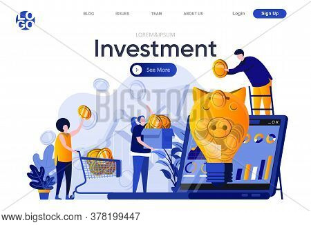 Investment Flat Landing Page. People Putting Gold Coins Into Piggy Bank Vector Illustration. Financi
