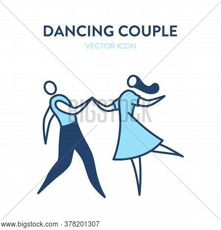 Dancing Couple Icon. Vector Illustration Of Man And Woman Dancing As A Couple. Beautiful Dance Icon,