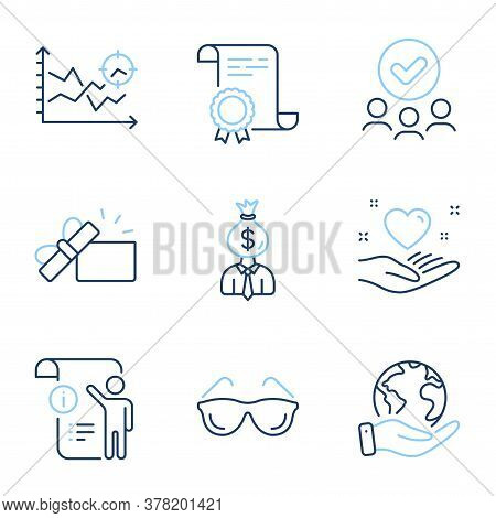 Opened Gift, Eyeglasses And Seo Analysis Line Icons Set. Diploma Certificate, Save Planet, Group Of