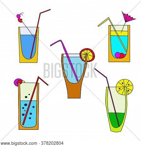 Summer Cocktails Cartoon Set. Colorful Summer Variations