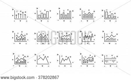 Candlestick Graph, Infochart And Report Diagram. Charts And Graphs Line Icons. Presentation Linear I