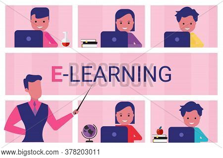 E-learning. Teacher Teaching Kids At Laptops During Online Class At School On Pink Background. Vecto