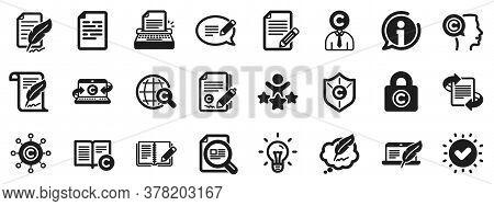 Set Of Copyright Protection, Signature And Feedback Icons. Copywriting Book Icons. Typewriter, Idea