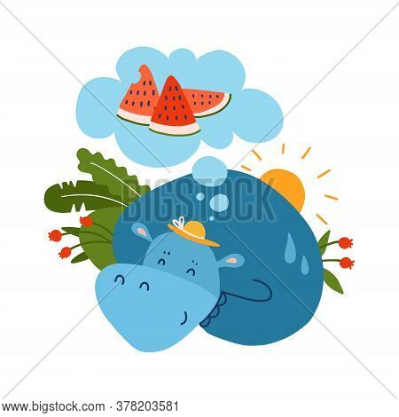 Hippo Dreaming About Watermelon, Flat Hand Drawn Vector Illustration On White Background. Hot Summer