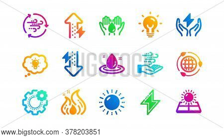 Solar Panels, Wind Energy And Electric Thunder Bolt. Energy Icons. Fire Flame, Hazard, Green Ecology