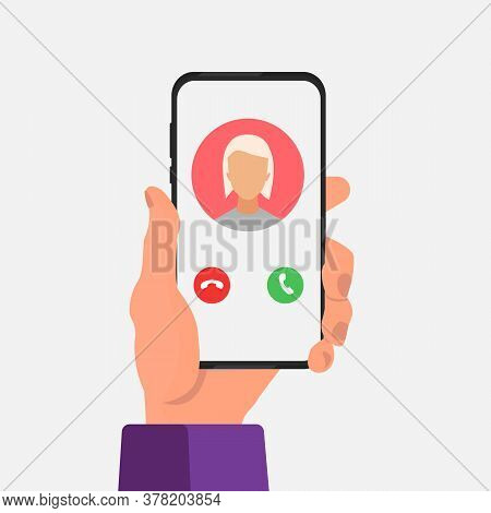 Modern Communication. Male Hand Holding Cellphone With Incoming Call On Screen Over White Background