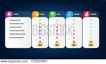 Skyscraper Buildings, Select Alarm And Discount Icons Simple Set. Price List, Pricing Table. Time Ho