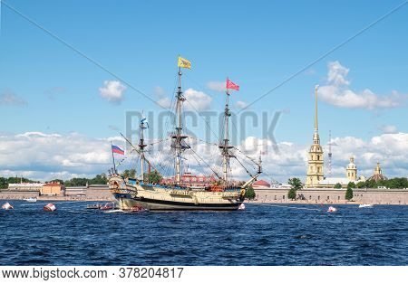 St. Petersburg, Russia. - July 26, 2020. A Reconstructed Old Historic Sailing Ship Stands On A Raid