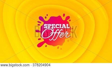 Special Offer Badge. Geometric Plastic Design Banner. Discount Banner Shape. Sale Coupon Splash Icon