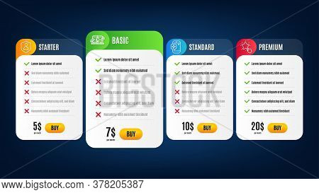 Security, Medical Phone And Copywriting Notebook Line Icons Set. Pricing Table, Subscription Plan. R