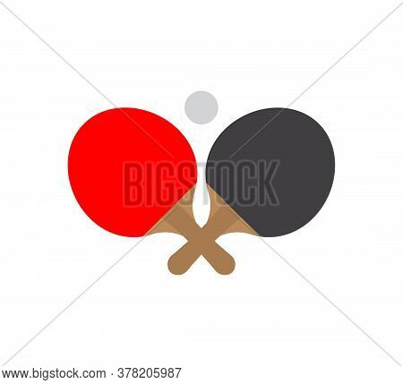 Vector Flat Cartoon Two Different Color Ping Pong Table Tennis Racket And Ball Icon Isolated On Whit