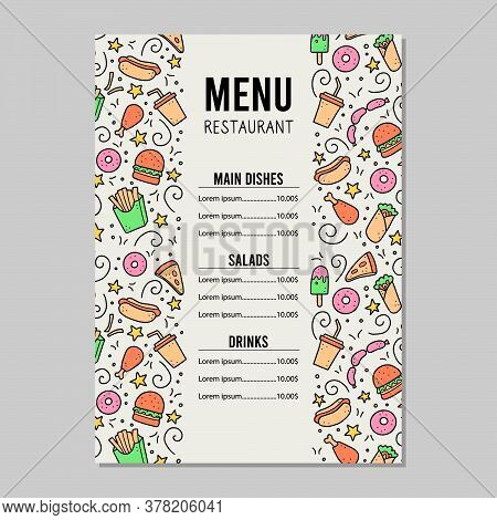 Hand Drawn Menu Template Of Fast Food Elements, Burger, Pizza, Sandwich, Hamburger, Snack. Doodle Sk