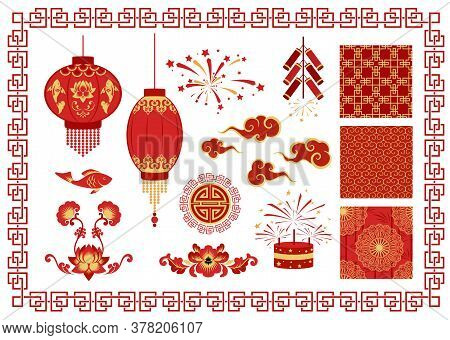 Happy Chinese New Year. Chinese Traditional Decorative Ornaments And Patterns. Design Elements For T