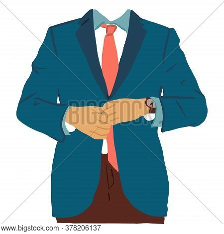 Colorful Sketch Of Businessman Buttoning His Jacket. Vector Illustration