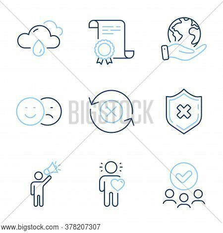 Friend, Reject Protection And Like Line Icons Set. Diploma Certificate, Save Planet, Group Of People