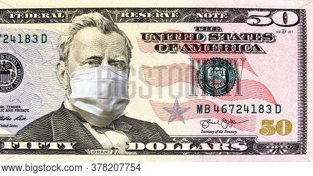 Coronavirus In Usa, 50 Dollars Money Bill With Face Mask. Covid-19 Affects Global Stock Market. Worl
