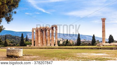 Landscape Of Athens With Olympian Zeus Temple, Greece. It Is One Of Top Landmarks Of Athens. Panoram